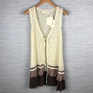 A'Reve Lace Ruffled Long Vest NWT